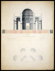 Plan and section of the proposed mausoleum to Lord Cornwallis in Ghazipur